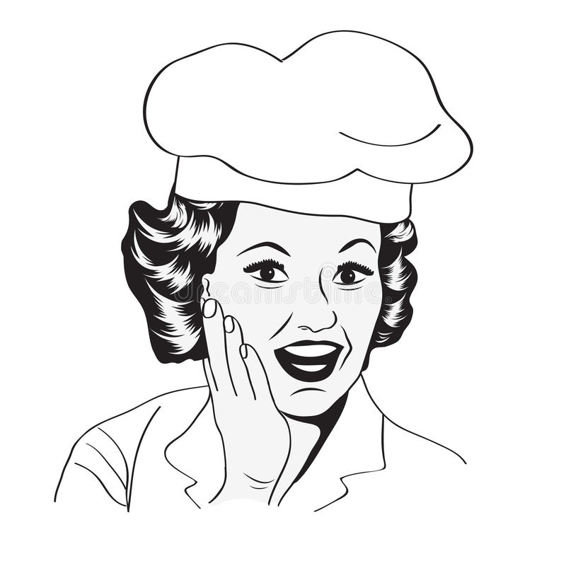 Dame Chef, retro illustratie royalty-vrije illustratie