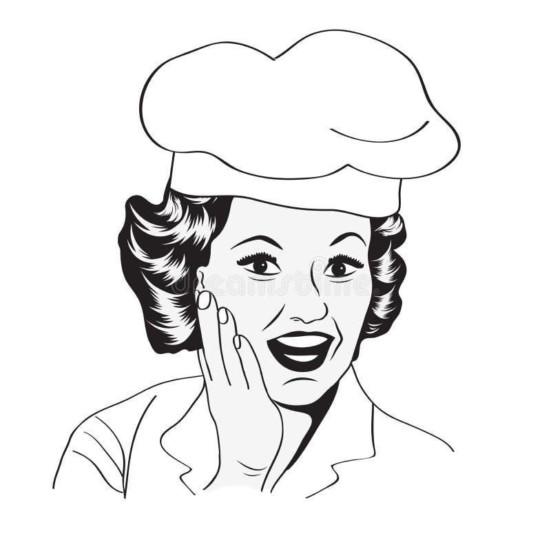 Dame Chef, Retro- Illustration lizenzfreie abbildung