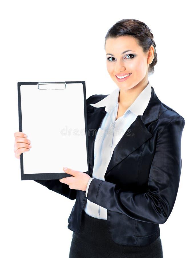 Dame d'affaires avec le plan de travail photographie stock