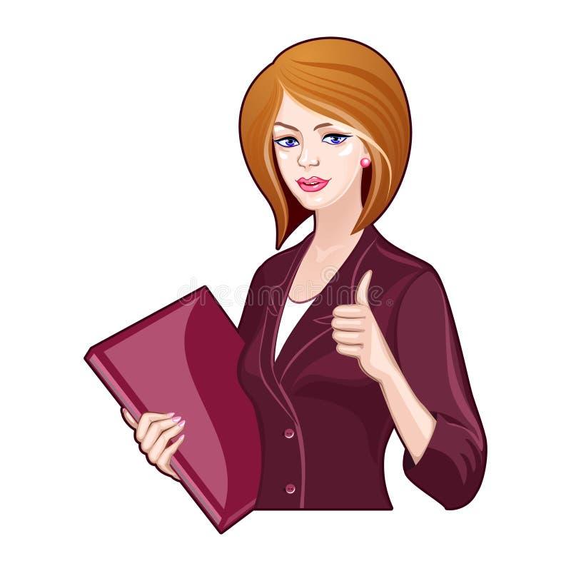 Dame d'affaires avec un dossier, pouces  illustration de vecteur