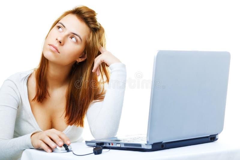Dame d'affaires frustrée avec son ordinateur photos stock