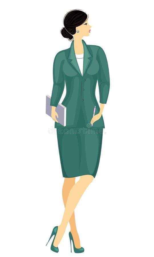 Dame d'affaires tenant un carnet Belle fille dans un costume strict Une femme se tient, chauss? dans des chaussures ? talons haut illustration stock