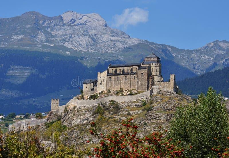 dame de церков укрепил швейцарца valere sion notre стоковые изображения