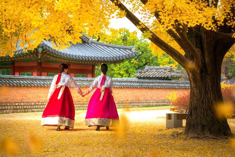 Dame in de gang van de hanbokkleding in het paleis van Seoel stock afbeeldingen