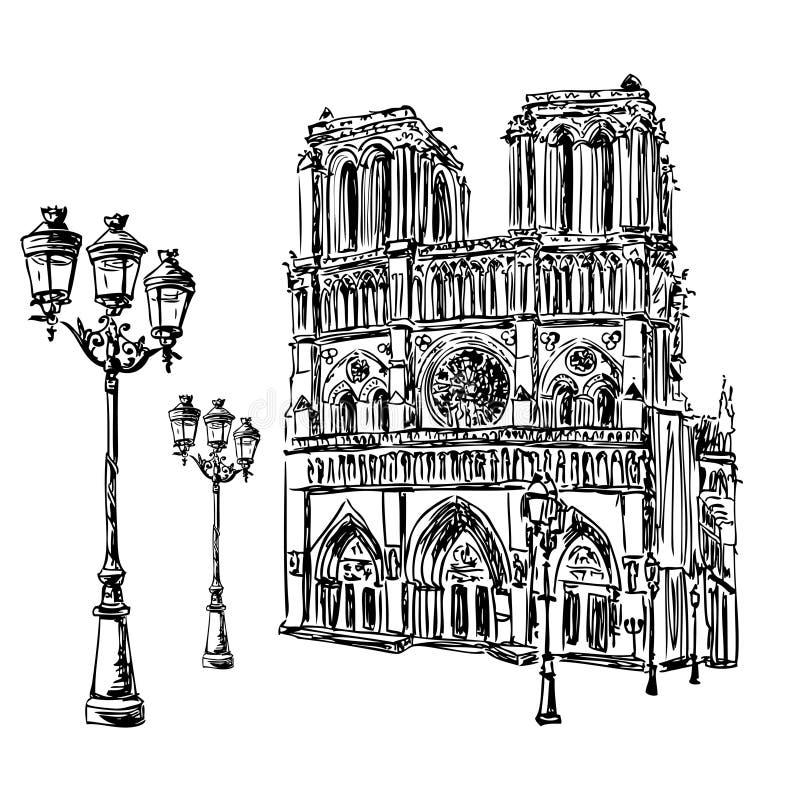 dame De Notre Paryża royalty ilustracja
