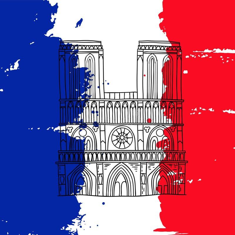 dame De Notre Paryża ilustracja wektor