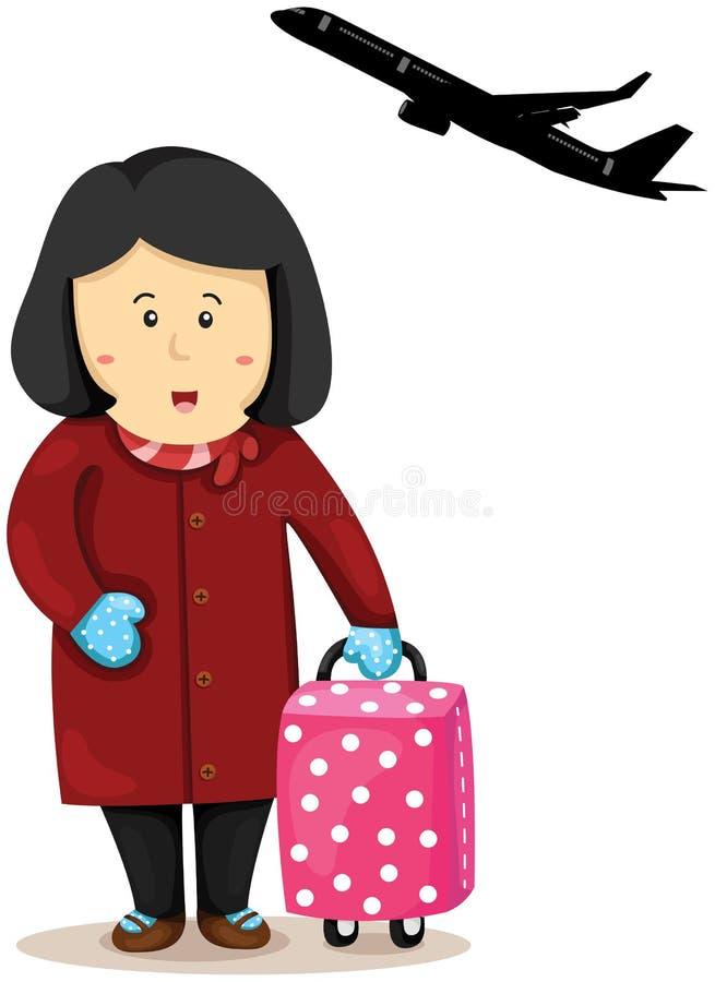 Dame de touristes avec le bagage illustration stock