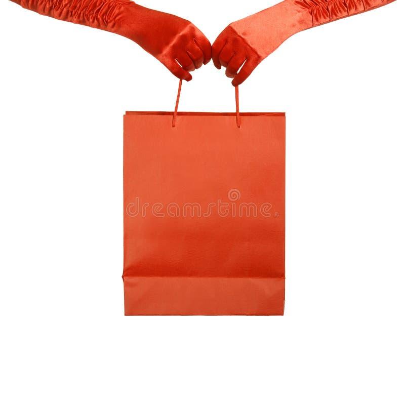 Download Dame In Den Roten Handschuhen, Die Einkaufstasche Anhalten. Stockfoto - Bild von fashion, beutel: 26373698