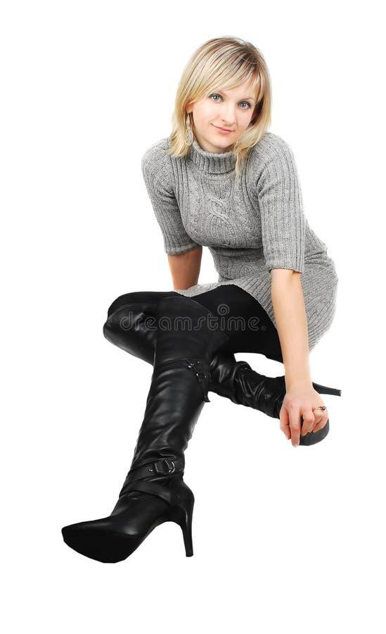 Dame in den schwarzen Matten. lizenzfreies stockfoto
