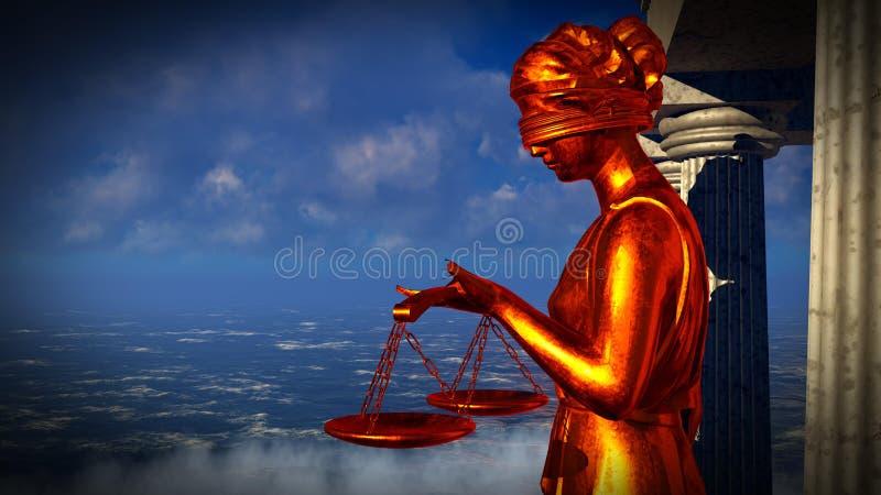 Dame der Gerechtigkeitsstatue in der vorderen Wiedergabe des Gerichtes 3d vektor abbildung