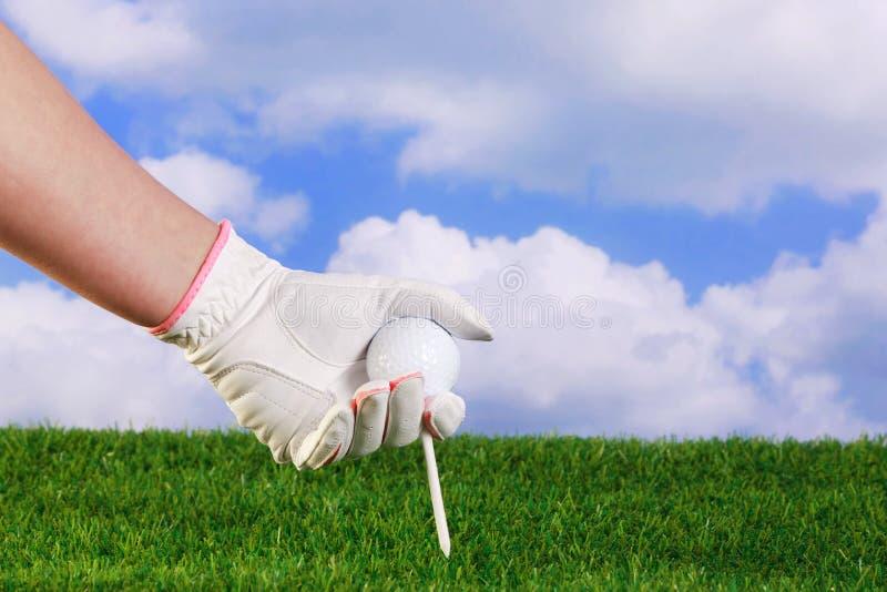 Dame, die Golfball und T-Stück platziert stockfotografie
