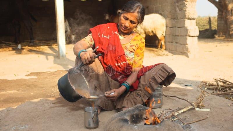 Dame die Indische Chai maken royalty-vrije stock fotografie
