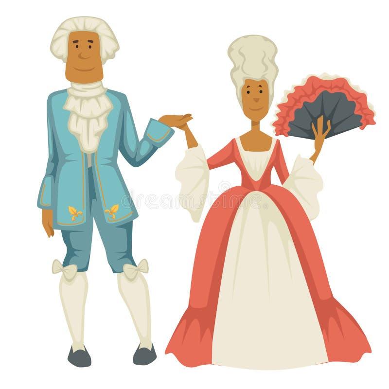 Dame e cavalieri barrocco della corte dell'uomo e della donna di epoca illustrazione di stock