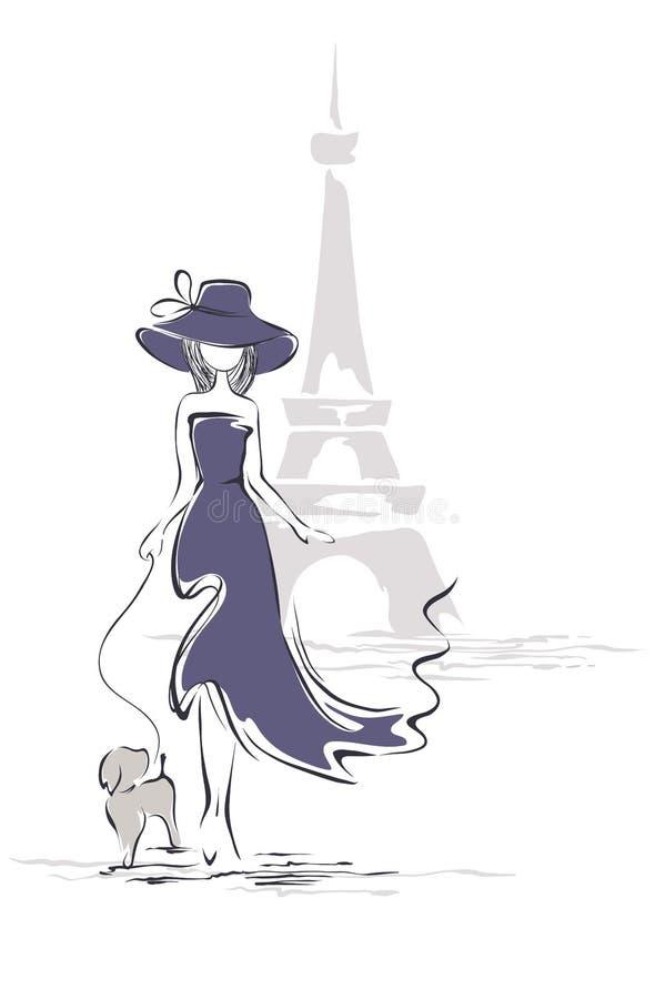 Dame in een hoed in Parijs vector illustratie