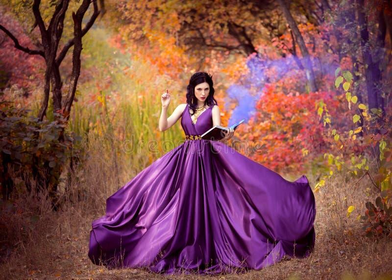 Dame in een luxe weelderige purpere kleding stock afbeeldingen