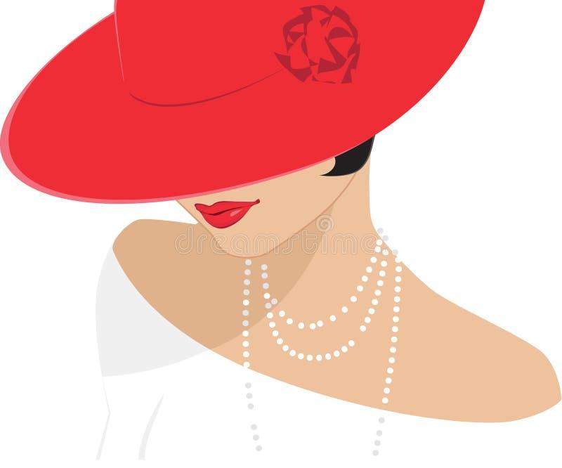 Dame in een rode hoed royalty-vrije illustratie