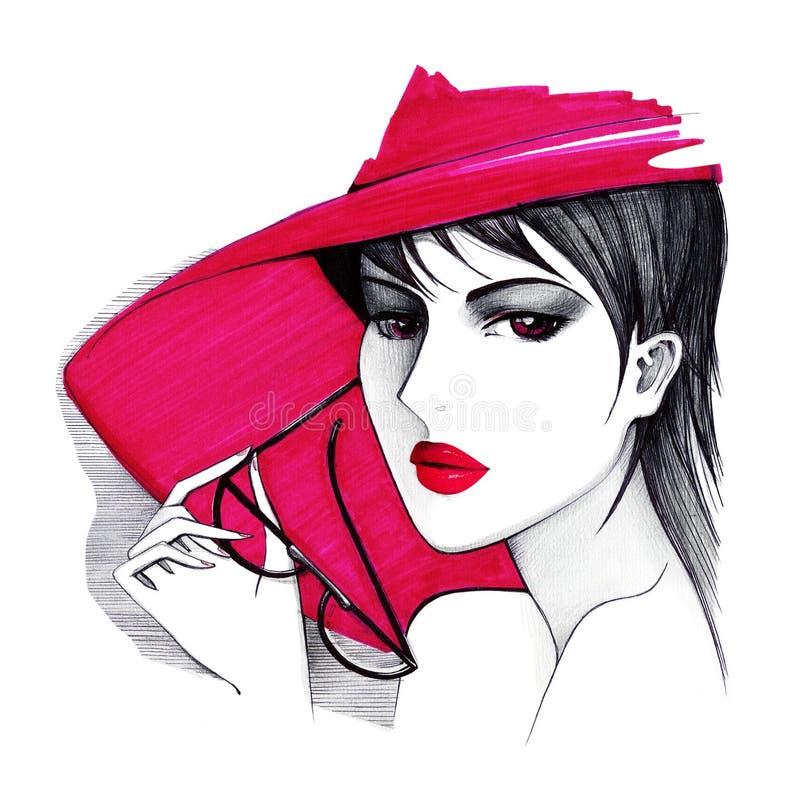 Dame in een rode hoed en met glazen in haar handen Cijferballpoint en rode teller royalty-vrije illustratie