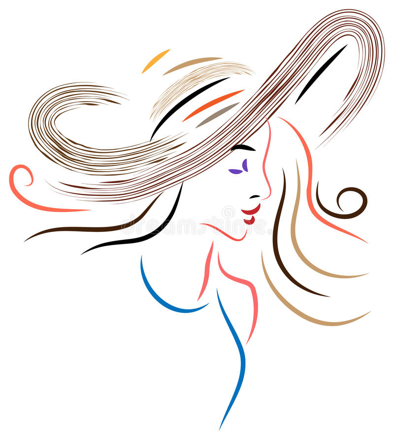 Dame in einem Hut lizenzfreie abbildung