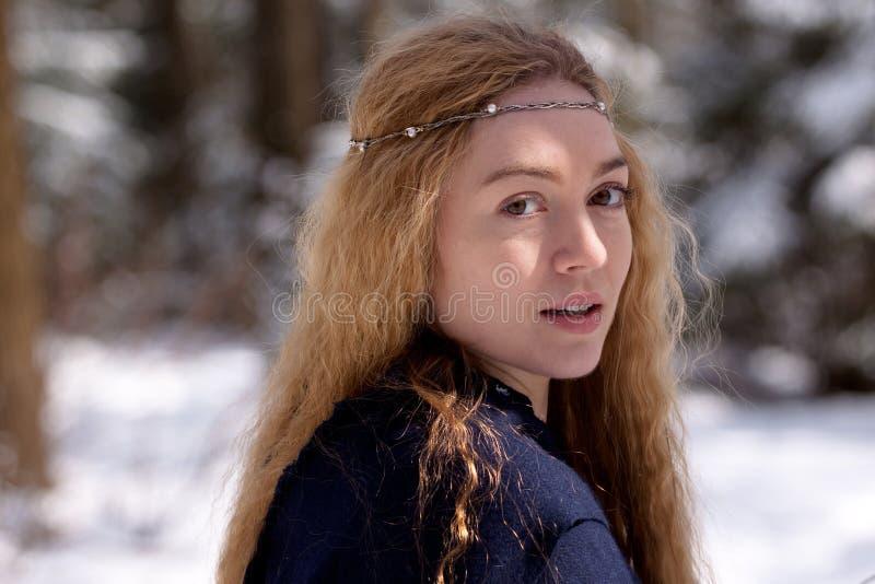 Dame en sneeuw royalty-vrije stock afbeelding