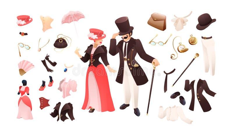 Dame en toebehoren van de van de heren retro kleding en manier vector illustratie