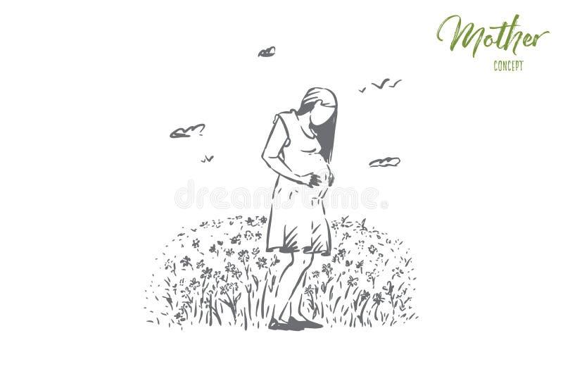 Dame enceinte heureuse attendant le b?b?, bonheur femelle, grossesse, m?re attendant l'enfant, la nouvelle vie illustration de vecteur