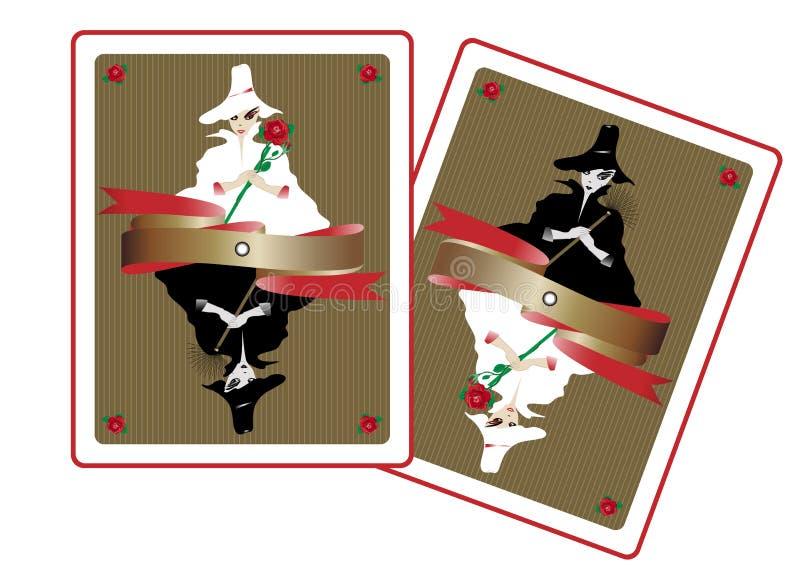 Dame féerique de l'amour et dame de carte de douleur illustration de vecteur