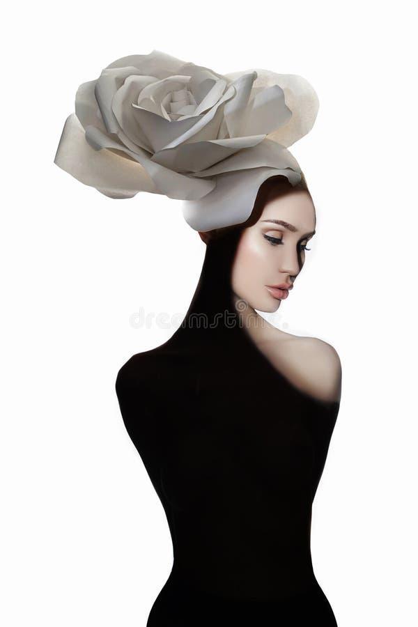 Dame Flower Naakte mooie vrouw royalty-vrije stock fotografie