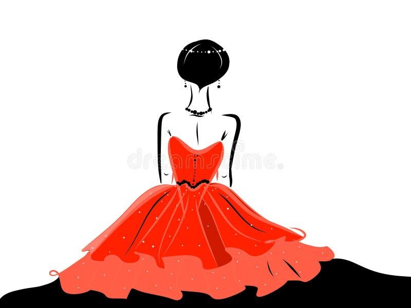 Dame in fonkelings rode kleding die juwelen dragen royalty-vrije illustratie