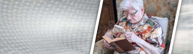 Dame ?g?e lisant un livre Drapeau panoramique photos stock