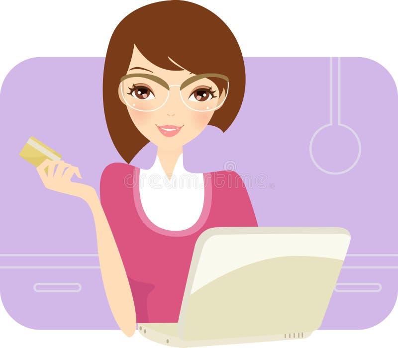 Dame genießt, auf Zeile zu kaufen lizenzfreie abbildung