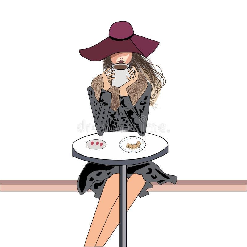 Dame genießt einen Morgenkaffee stock abbildung