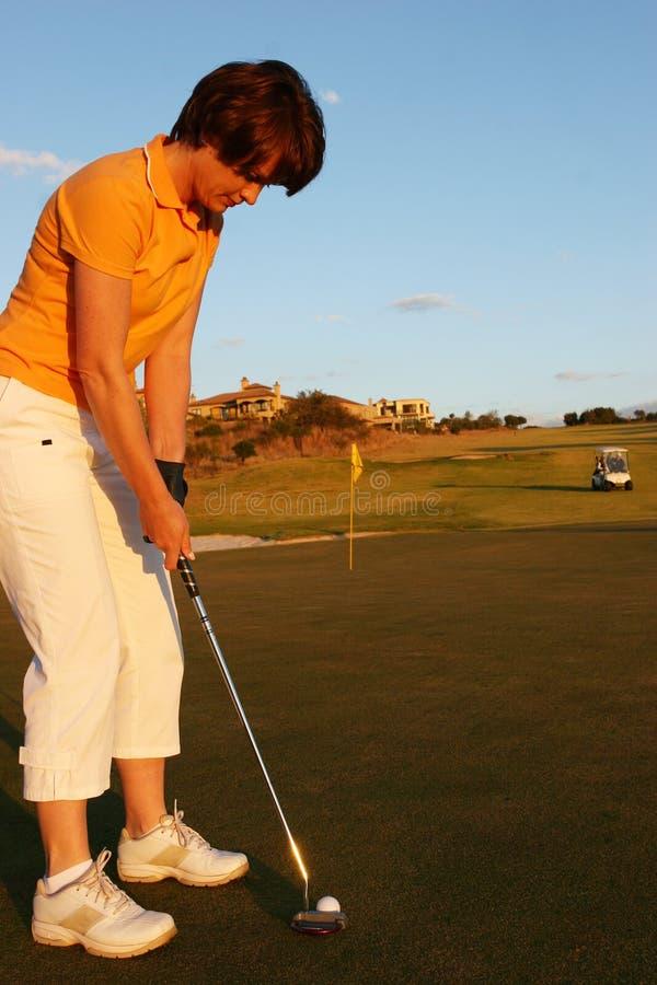 Dame Golfer royalty-vrije stock foto's
