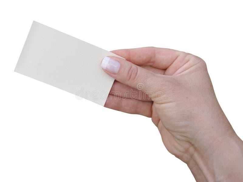 Dame Hand, das eine Visitenkarte mit Beschneidungspfad gibt stockbild