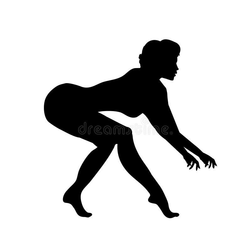 Dame het tiptoeing rond en het proberen om iemand te vangen De vrouw vangt haar loyaal dier Vector illustratie royalty-vrije illustratie