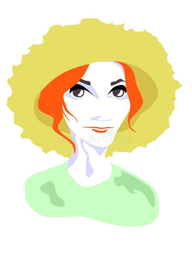 Dame in hoed vector illustratie