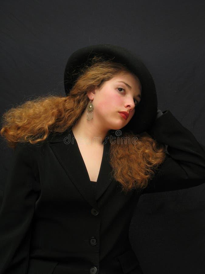 Dame in hoed royalty-vrije stock foto's
