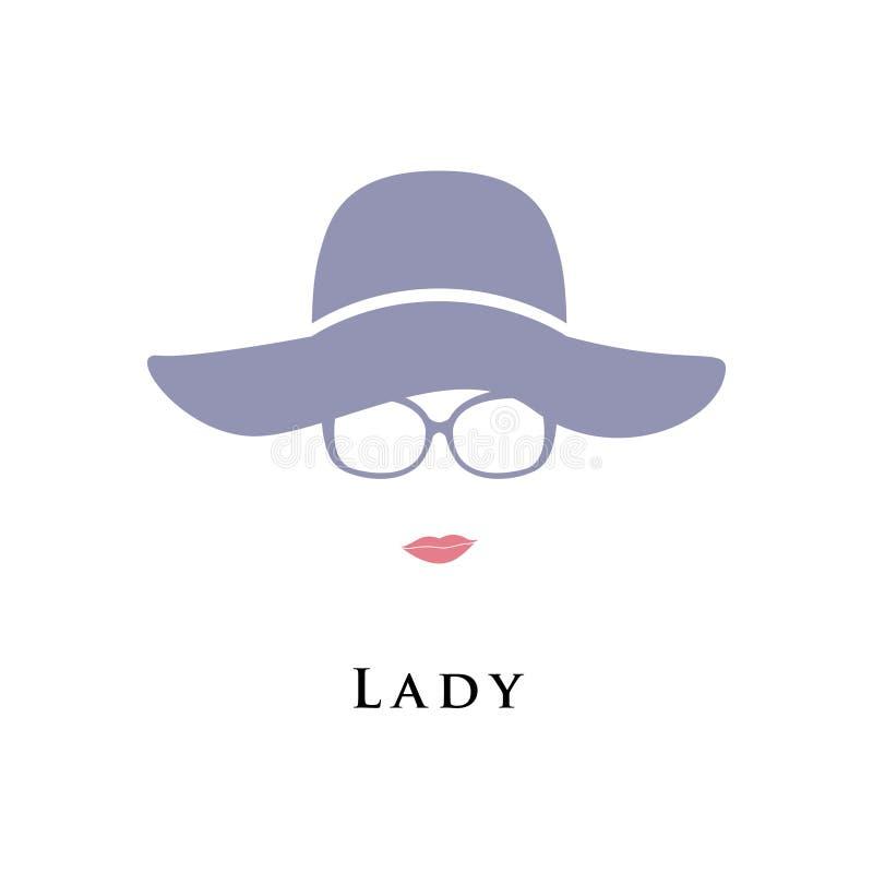 Dame in hoed en glazen vector illustratie