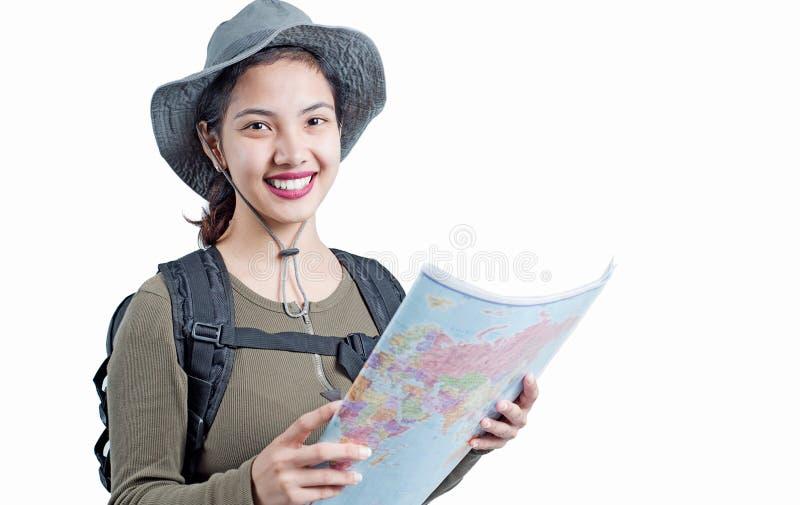 Dame im Reiseabenteuer lizenzfreie stockfotos
