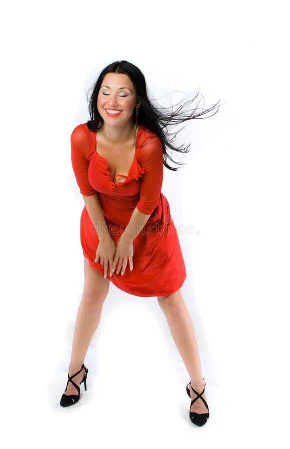 Dame im roten Kleid stockfotos