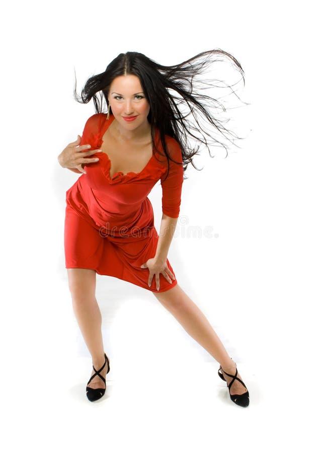 Dame im roten Kleid stockfotografie