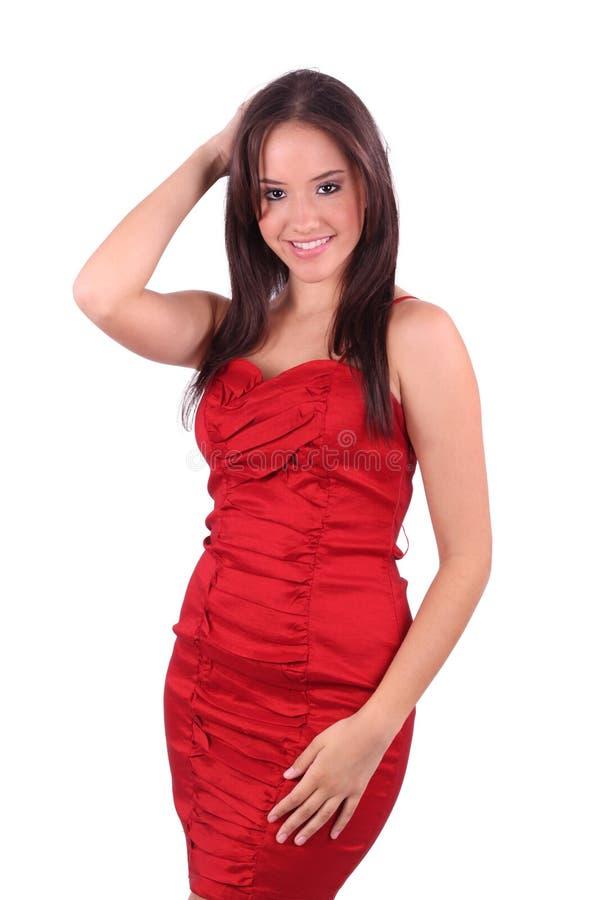Dame im roten Kleid stockfoto