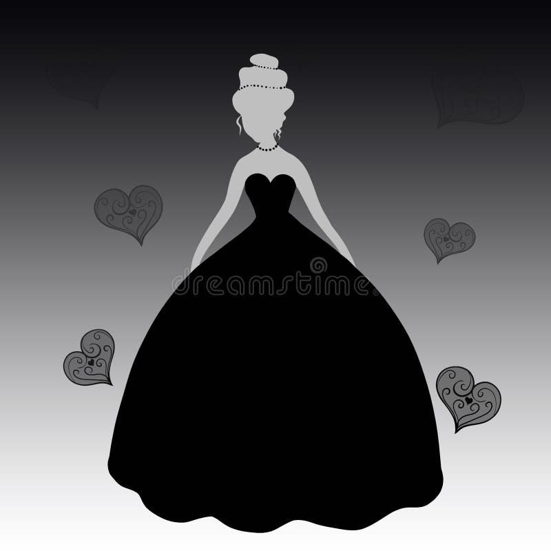 Dame im schwarzen Kleid, Schattenbild lizenzfreie abbildung