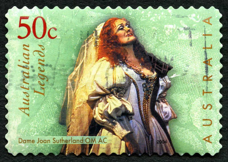 Dame Joan Sutherland Australian Postage Stamp. AUSTRALIA - CIRCA 2004: A used postage stamp from Australia, depicting an image of Dame Joan Sutherland royalty free stock images