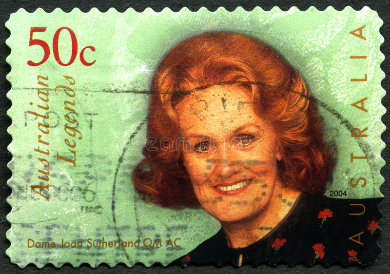 Dame Joan Sutherland Australian Postage Stamp. AUSTRALIA - CIRCA 2004: A used postage stamp from Australia, depicting an image of Dame Joan Sutherland royalty free stock photo