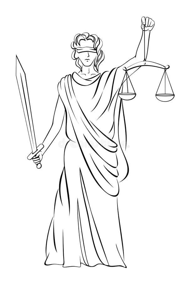 Dame Justice royalty-vrije illustratie