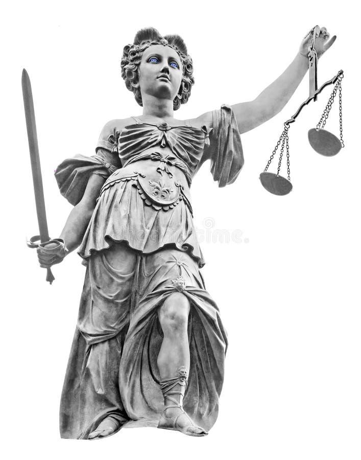 Dame Justice met Schalen en Zwaard stock foto's