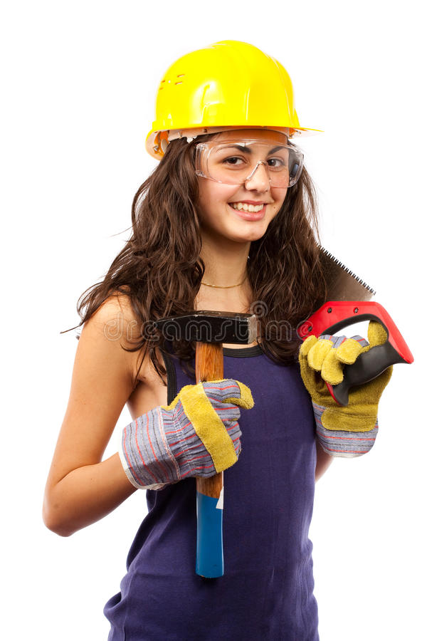 Dame latine de construction images stock