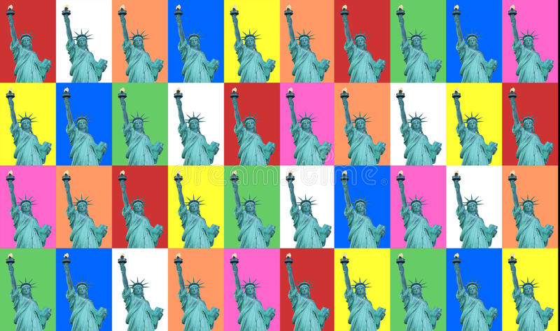 Dame Liberty Color Collage stock illustratie