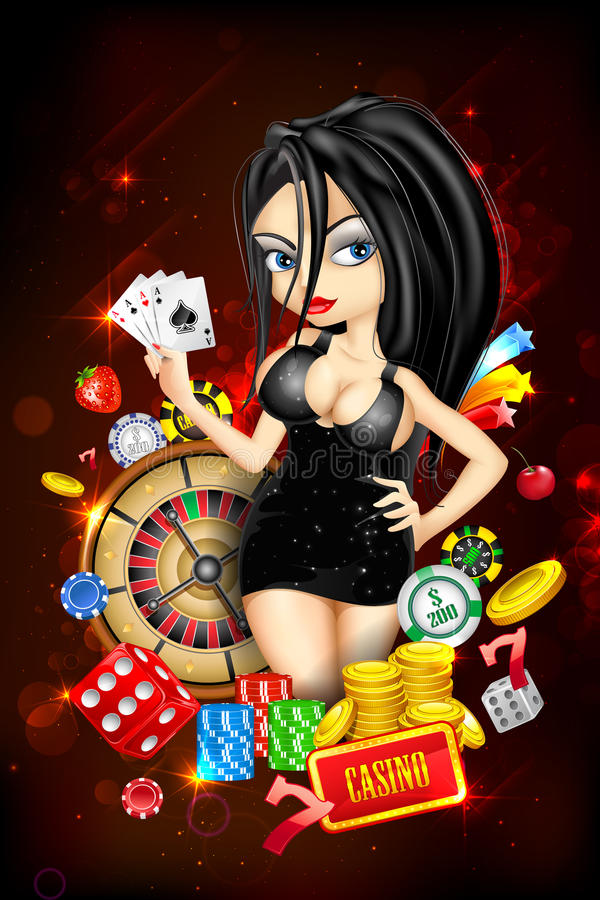 Dame met Casinokaart stock illustratie