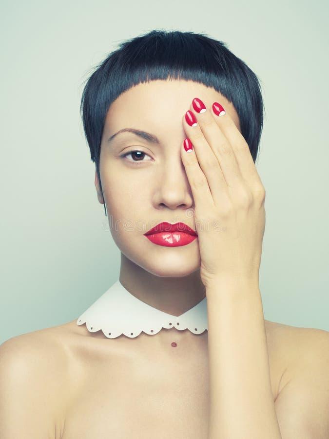 Dame met helder nagellak stock afbeelding